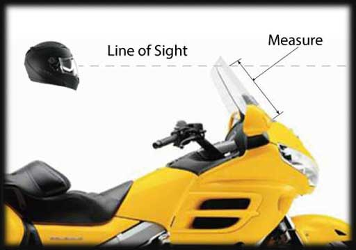 Choose a Windbender Adjustable Motorcycle Windshield by Measuring your Line-of-Sight