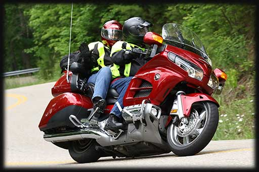 Rider and Passenger on Goldwing with Windbender